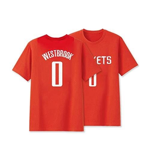 YHNMK Russell Westbrook #0 Basketballhemd Sommer Trikots Jungen Männer Fans Trikot Stickerei Tops Basketball AnzugRed-XL