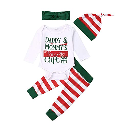 WALLARENEAR My First Christmas Newborn Baby Girl Boy Letter Print Long Sleeve Romper Bodysuit Striped Pants with Headband Hat Outfits (White, 0-6 Months)