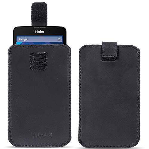 na-commerce Leder Tasche Haier Phone L53 Schwarz Pull Tab Sleeve Hülle Schutzhülle Cover Bag