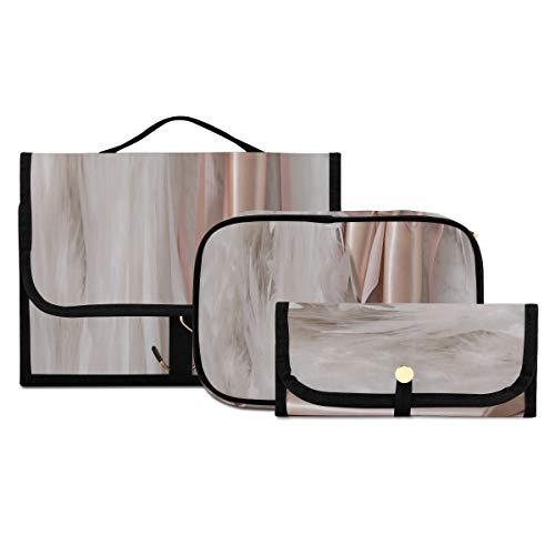 Bolsas de cosméticos Transparentes con Cremallera, Zapatos de Punta de Ballet en Madera, Kit de artículos de tocador de Viaje, Estuche Organizador de Maquillaje Lavable y Plegable, Adecuado para viaj