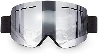 DODENSHA Frameless Ski Goggles, Magnetic Dual Layer Interchangeable Lens Anti-UV Anti-Fog OTG Snowboard Goggles for Men Women Adults (Bright Silver)