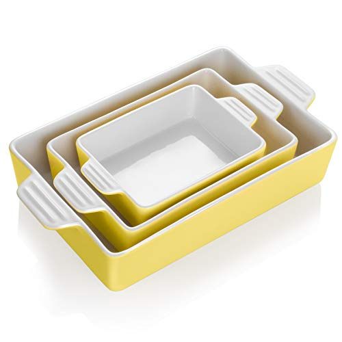 Teocera Porcelain Baking Dish, Casserole Dish, Rectangular Bakeware Set, Lasagna Pans for Cooking, Kitchen, Dinner Parties, Double Handle, Set of 3, Yellow