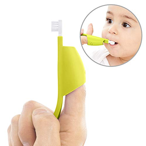 Finger Toddler Toothbrush, Soft Anti-Slip Finger Sleeve Baby Toothbrush for Easy Mami Help, for 1 Year and up (green)