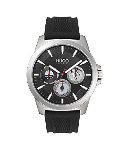 HUGO by Hugo Boss Relógio masculino de quartzo de aço inoxidável com pulseira de silicone, preto, 22 (modelo: 1530129)