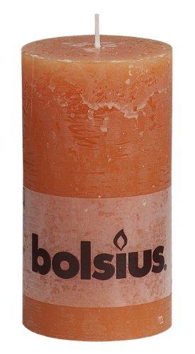 bolsius Stumpenkerze Rustik - orange, 130 x 68 mm