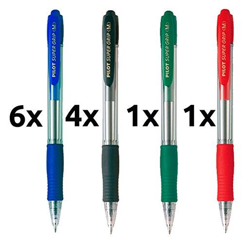 Boligrafo pilot supergrip pack 12 u.(6 azules,4 negros,1 rojo,1 verde)