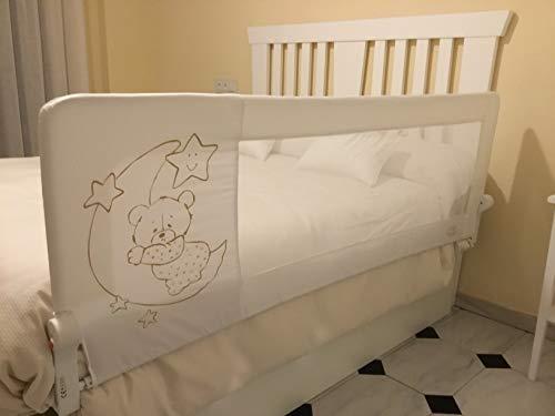 Barrera de cama nido para bebé, 150 x 66 cm. Modelo osito y luna gris. Barrera de seguridad. Sello de calidad SGS.