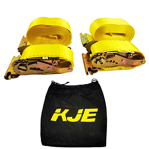 2 E Track Ratchet Tie-Down Cargo Straps, 2' x 20' Durable Ratcheting Strap Cargo TieDowns, Heavy Duty Yellow Polyester Tie-Downs, ETrack Spring Fittings KJE 2PC