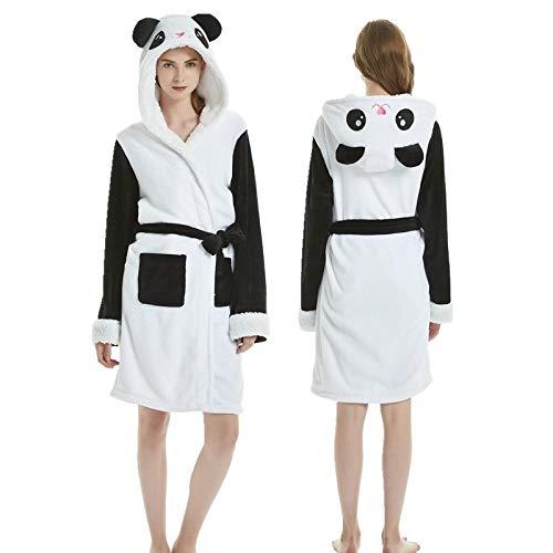 JXLB Frau LäSsig Kimono Bademantel Herbst Und Winter Flanell Robe Dick Warm Einhorn Pyjamas Home Service XL(170-178cm) Panda