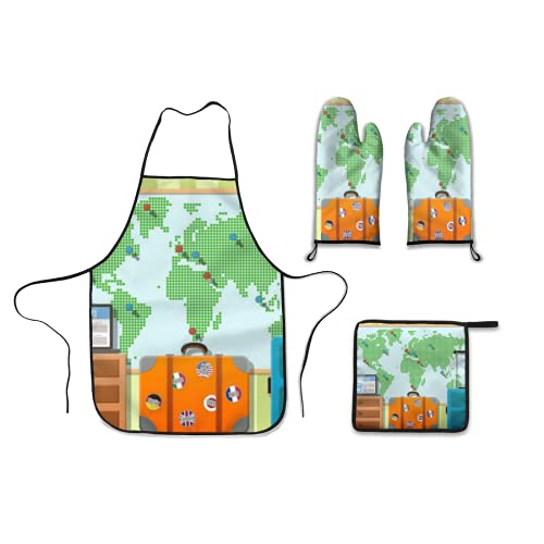 Kitchen Four Piece,travel suitcases with stickers and world map travel around the world concept vector flat de,Polyester Gloves Microwave oven gloves apron Dinner plate mat Barbecue