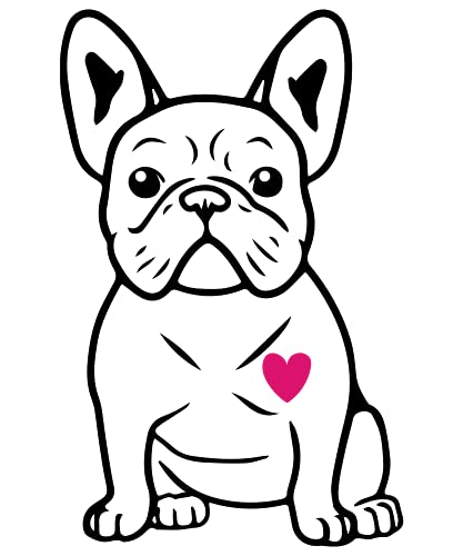 United by Color French Bulldog Sticker 5-by-3 Inches - Strong Adhesive Waterproof Frenchie Car Decal - Transparent and Used for Car, Laptop, Water Bottle, Wall