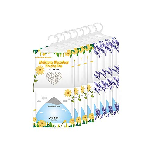 CANAGER Moisture Absorber Packets-Fresh Scent -4 Packs&Moisture Absorber Packets-Lavender Vanilla -4 Packs,Hanging Damp Bags for Closet,Bedroom and Kitchen-Odor Eliminator,Moisture Absorb 12.5OZ