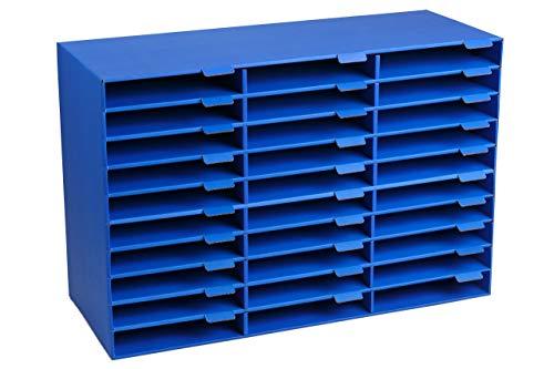 Adir File Sorter Literature Organizer - Mail Vinyl Craft Paper Storage Holder Corrugated Cardboard for Office, Classrooms, and Mailrooms Organization (30 Slots, Blue)