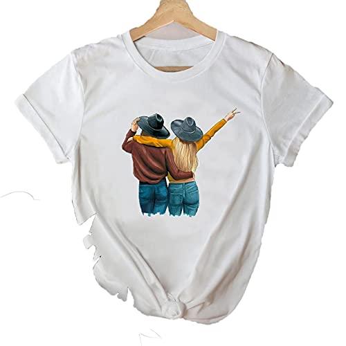 shirts T Mujeres 2021 Happy Time Lindo Primavera Tendencia Dibujos Animados Hermana Amigos Ropa Elegante Camiseta Top Lady Print Sweet Tee T