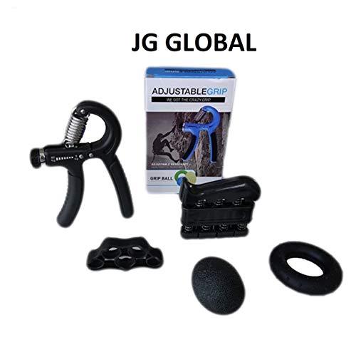 JG Global Fortalecedor de Agarre de Mano - Kit Entrenamiento de Agarre - Paquete de 5: Agarrador de Mano Ajustable, Ejercitador de Dedos, Estirador de Dedos, Bola de Agarre y Anillo de Ejercicio