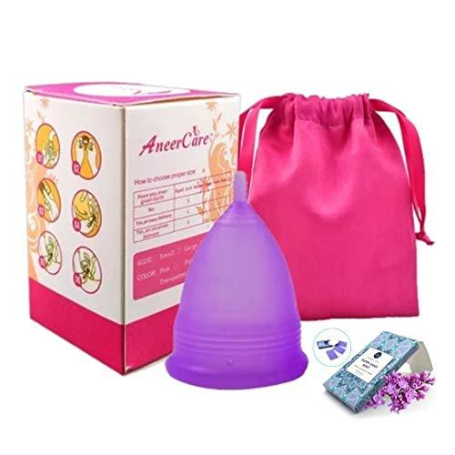 Copa Menstrual AneerCare de silicona suave de grado médico 100%. Previene infecciones y fortalece el suelo pélvico. Alternativa saludable, económica y ecológica Talla S