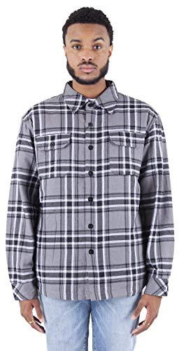 Shaka Wear Men's Plaid Shirts – Flannel Hooded Long Sleeve Casual Button Up Fleece Soft Quilted Lined Hoodie Jacket PFJ05 Grey 2X