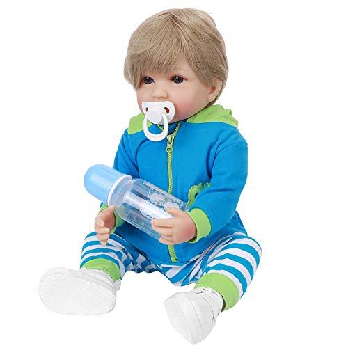 HONG111 Boneca Reborn realista realista, boneca menino reborn de 53 cm com roupas azuis e cabelo loiro, bonecas bebê de silicone para crianças/meninos/meninas/mulheres, acessórios de brinquedo, melhor conjunto de aniversário (1#)