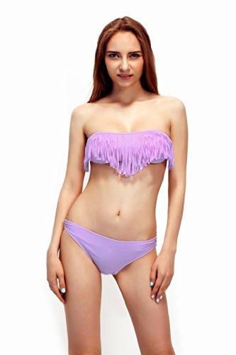 Thinkbay 2 Boho Bikini a fascia imbottita con frange, nappe e senza slip a vita bassa, in 9 colori 3 Ship2UK Online Store-Costume da bagno, colore: viola, lunghezza: (42-44)
