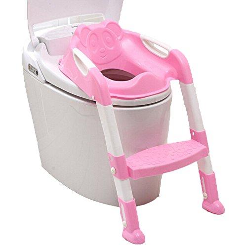 Kinderpotje, toiletbril met ladder, kinderbabyklep, potje, stoel, training, draagbaar en duurzaam roze 1