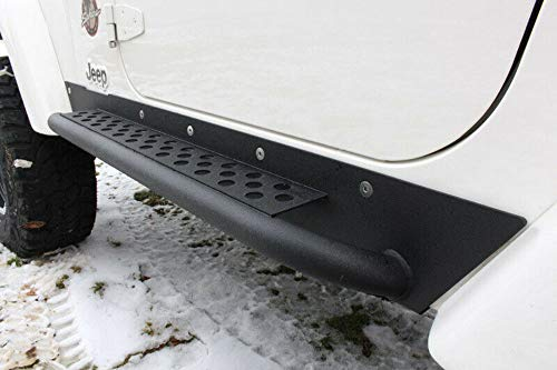 Fishbone Offroad - FB23028 Jeep TJ Rock Slider W/Tube Step 97-06 Wrangler TJ Steel Black Textured Powdercoat