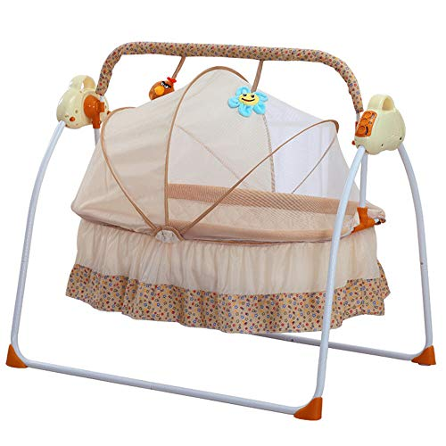 Auto-Swing Electric Baby Crib, Electric Crib Cradle Newborn Sleeping Bed with Remote Control, Baby Swing Bed Infant Rocker Cot Rocking Chair with Mat (Khaik)