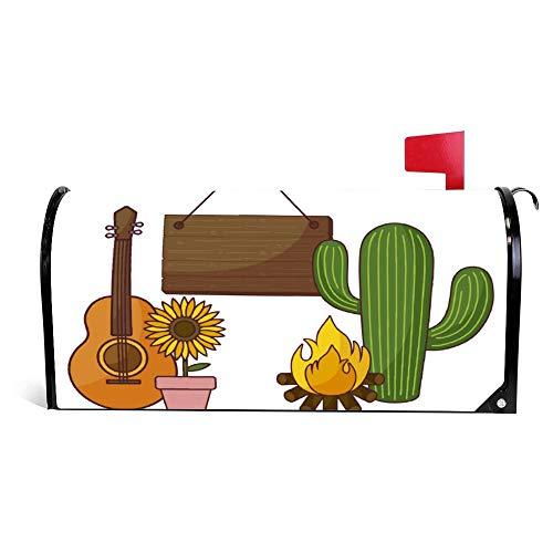 wendana Cactus Plant Met Zonnebloem En Iconen Mailbox Cover Magnetische Vinyl Thuis Tuin Decor Mailbox Wrap Post Letter Box Cover 18