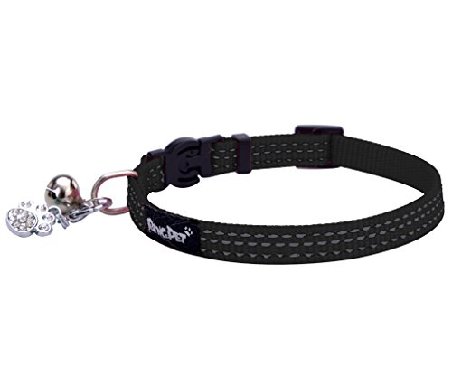 BINGPET Safety Nylon Reflective Cat Collar Breakaway Adjustable Cats Collars with Bell and Bling Paw Charm, Black