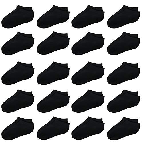 20 Pairs Toddler Kids Socks Half Cushion Low Cut Ankle Socks Boy Girl Athletic Socks (Black, 4-6 Years)