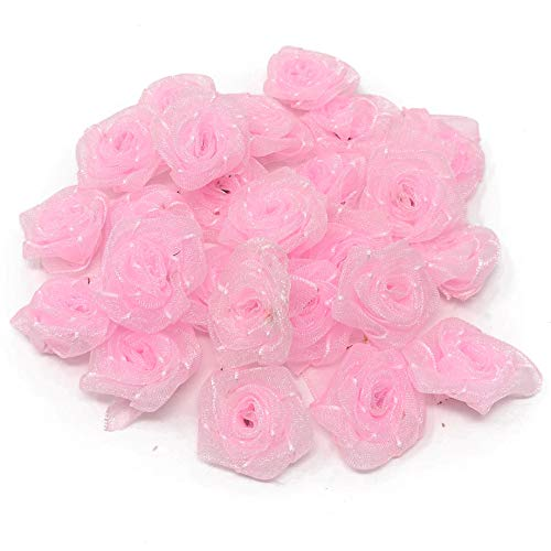 Lot de roses décoratives en ruban de satin Rose clair 25 mm