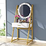 Tribesigns Vanity Table with Swivel Lighted Mirror, Makeup Vanity Dressing Table with 9 Lights and Drawer for Women Girls, Make-up Desk Small Vanity for Bedroom, Gold & White