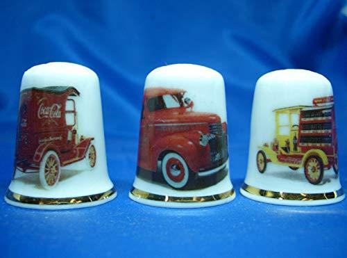 Birchcroft Coleccionable de porcelana china – Juego de tres dedales – Coca Cola Vans