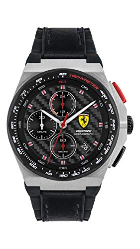 Ferrari Men's Stainless Steel Quartz Watch with Leather and Silicone Strap, Black, 18 (Model: 0830791)