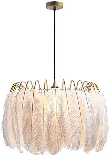 Lámpara de techo colgante de plumas, estilo nórdico moderno, lámpara de araña E27 para salón, dormitorio, comedor, soporte de 60 cm