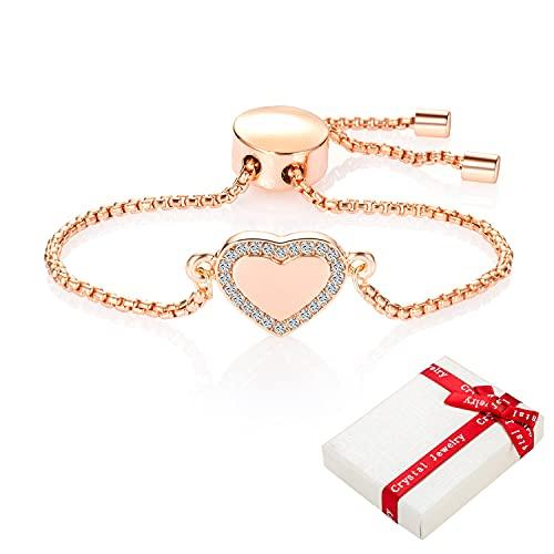 Pulsera de corazón mujer, oro rosa con diamantes de imitación para adolescentes mujeres, acero inoxidable, fácilmente pulseras amor,regalo de joyería para mejores amigas novias cumpleaños de Navidad