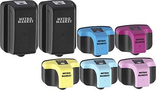 Metro Market 7 Pièces pour HP 363 XL Cartouches d'encre Haute Capacité Compatible pour HP Photosmart 3210xi 3310 7160 7360 8250 C5180 C6100 C6180 C6200 C6280 C7180 C7200 C7250 C7280 C8180 D7260 D746
