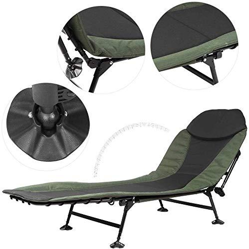 YYF Tragbare Campingstühle, Campingstühle Gartenstühle Faltbare Liegestuhl mit Kissen,Green