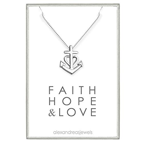 Tiny and Dainty Sterling Silver Faith Hope and Charity Necklace, Baptism Gift for Teens, Goddaughter Gift Necklace, Sterling Silver Cross Necklace, Confirmation Necklace, 18 inches