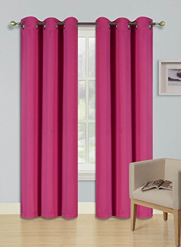 """Prestige Curtains (THERMAL) One Panel Solid Elegant Blackout Thermal Insulated with Foam Backing Grommet Silver Energy Saving Triple Layer Window Treatment Draperies (35"""" x 84"""", Hot Pink)"""