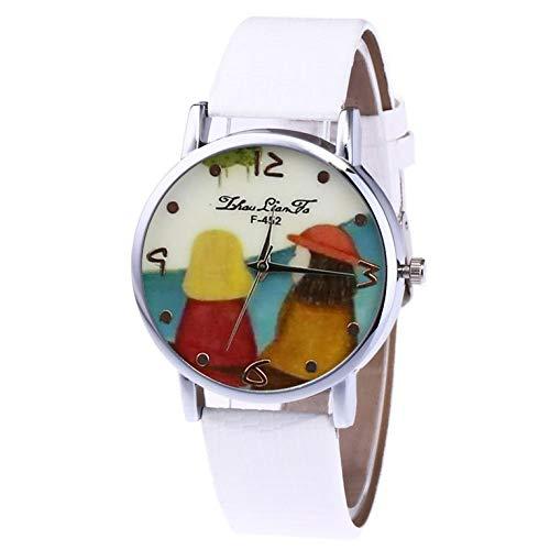 Cuero con plata Shell reloj de cuarzo Hombres y mujer Relojes de cuarzo F452