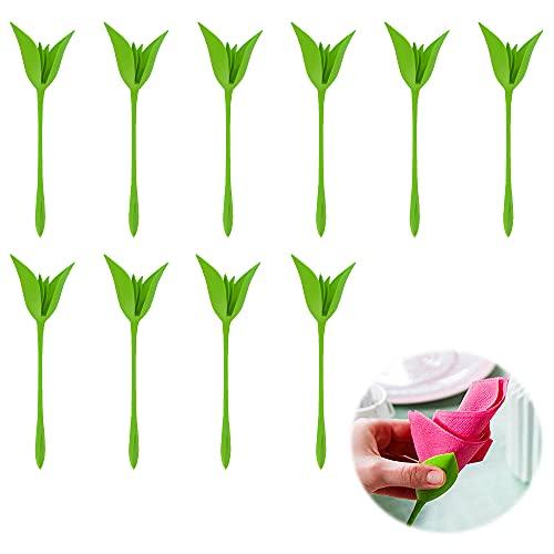 10 Piezas Servilletero de Flores, ZoneYan Servilleteros Bloom, Servilleteros de Plastico, Verde, Decoraciones de Mesa Románticas para Restaurante, Bodas y Fiestas