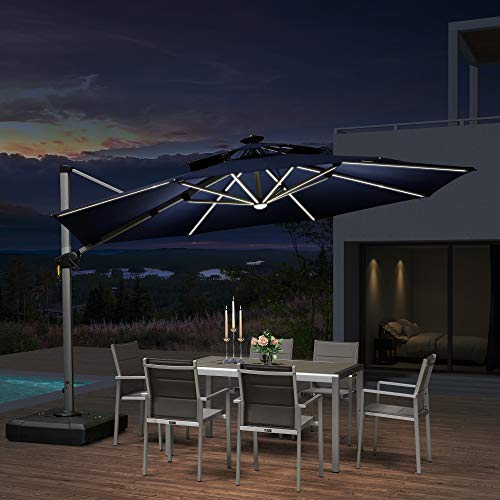 PURPLE LEAF 12ft Solar Powered LED Patio Umbrella Outdoor Round Umbrella Large Cantilever Umbrella with LED Lights Windproof Offset Umbrella Sun Umbrella for Garden Deck Pool Patio, Navy Blue