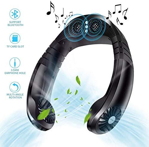 Draagbare 2 in 1 Mini Cooling Neck ventilator met Bluetooth Speaker, 3 Snelheden Personal USB oplaadbare Anti-Ruis Fan, met de hand-free cooling apparaat met Echo for de zomer, Black portable air cond