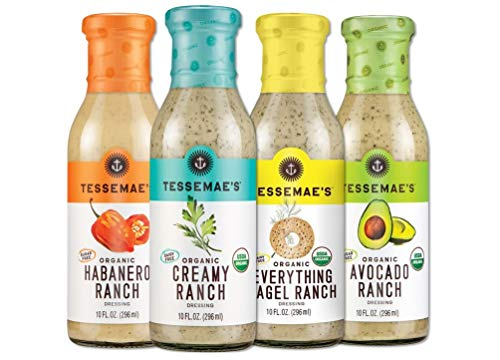 Tessemae's Organic Ranch Dressing Lovers Variety Pack, Whole30 Certified, Keto Friendly, USDA Organic, 10 fl oz. Bottles (4-Pack)