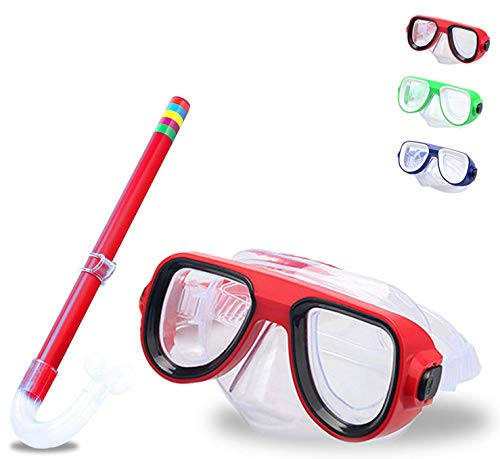 lofuanna Kids Snorkel Set Junior Snorkeling Gear Kids Silicone Scuba Diving Snorkel Equipment for Boys and Girls Age from 48 Years Old Red
