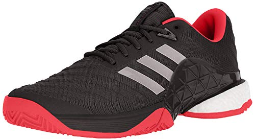 adidas Men's Barricade 2018 Tennis Shoe, Black/Black/Flash Red, 10 M US