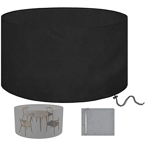 Garden Furniture Covers Round Table and Chairs, Circular Patio Set Cover, Outdoor Furniture Covers Waterproof Heavy Duty, 210d Oxford Bistro Set, Black,D: 47 x H: 30in