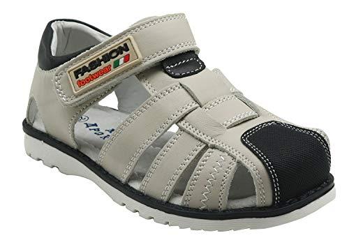 Apakowa Sandalias de Punta Cerrada de Cuero para Niños Zapatos Planos de Verano para Niños Grandes Sandalias de Gladiador para Caminatas en la Playa de Vacaciones (Niños pequeños/Niños gr
