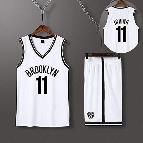 HS-XP Brooklyn Nets 11# Kyrie Irving Boys Girls NBA Baloncesto Jersey, Jerseys De Baloncesto para Niños Adultos, Chaleco Y Pantalones Cortos Juego De Camisetas De Baloncesto,Blanco,3XL(175.180CM)