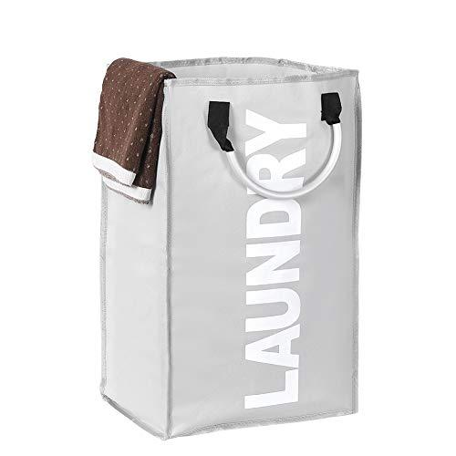 Foaynn - Cesto de ropa sucia grande, plegable, portátil, plegable, tela Oxford con asa (gris claro)